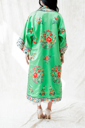 Rare Vintage Silk Green Embroidered Robe - M