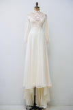 Vintage Lace and Chiffon Wedding Gown - XS