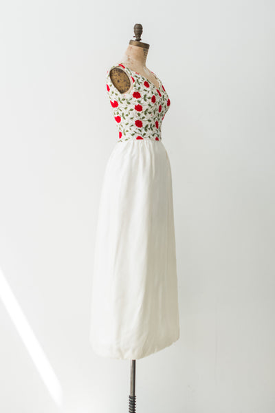 1950s Rose Embroidered Satin Gown - XS/S
