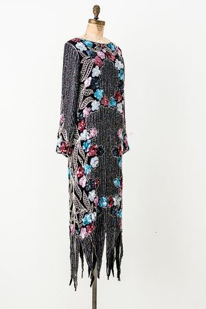 1980s Silk Beaded Gown - S/M