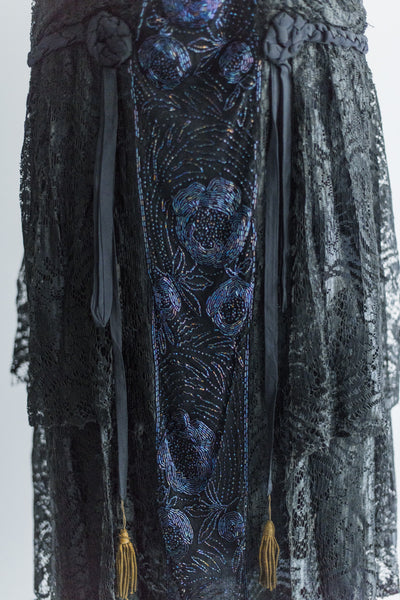 1920's Silk Lace and Cobalt Beaded Flapper Dress - M