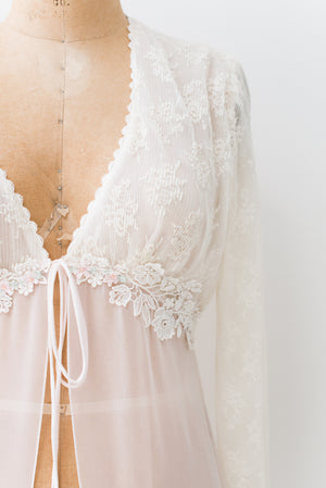 Vintage Chiffon and Lace Dressing Gown - M