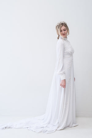 1970s Jersey Lace Applique Gown - S/M