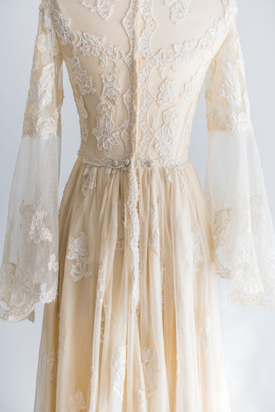 1970s Tea Lace Applique Gown - XS/S