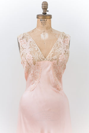 1930s Peach Silk Lace Embroidered Gown - S