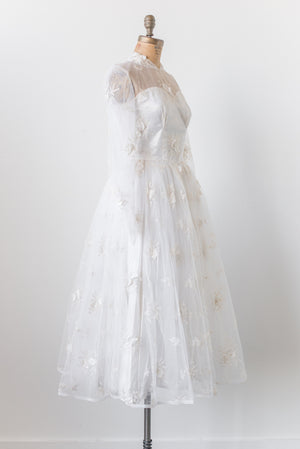 1950s Tea-Length Tulle Gown with Applique - S