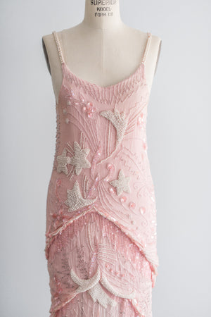 RESERVED 1980s Silk Chiffon Pink Cream Caviar Pearl Beaded Dress - S/M