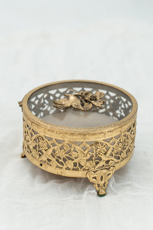 Vintage Dogwood and Bird Ormolu Trinket Box