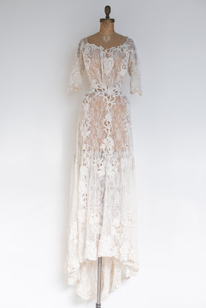 Edwardian 3/4 Sleeves Lace and Applique Gown - XS/S