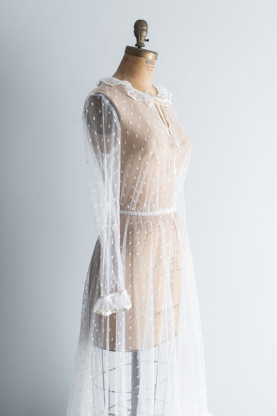 1970s Ruffled Neck Swiss Dot Lace Gown - S