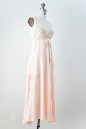 1960s Silk Lace and Satin Slip - M