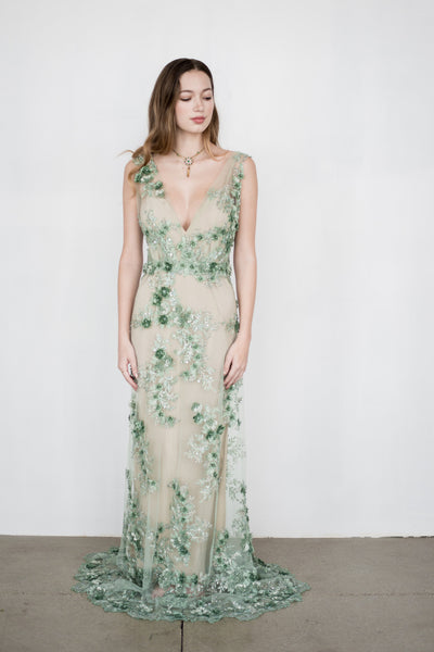 RENTAL GOSSAMER Green 3D Lace Gown - S