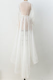 1940s Sheer Chiffon Wedding Gown - S