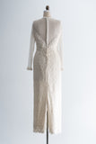 1980s Embroidered Flower Illusion Gown - M