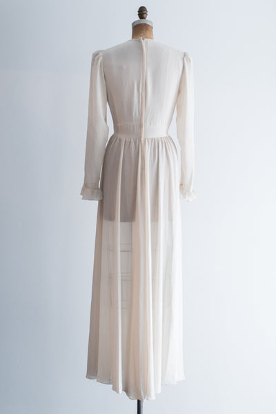 1970s Silk Chiffon Embroidered Gown - S/M