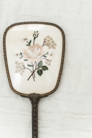 Antique Gilded Mirror with Embroidered Flowers