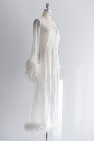 1970s Vintage Chiffon and Ostrich Feather Robe - M/L