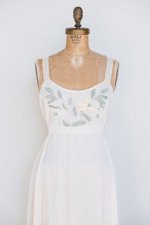 1980s Silk Embroidered Slip - S