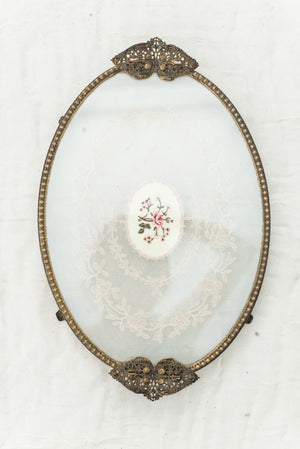 Antique Glass Tray with Lace