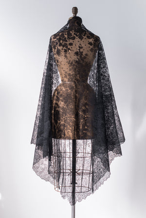 Antique Black Silk Lace Shawl - One Size