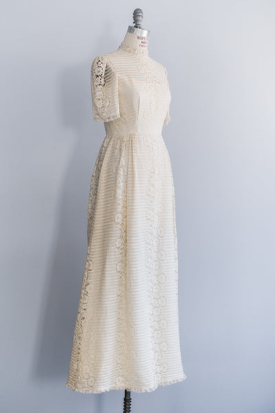 1970's Crochet Lace Gown - S