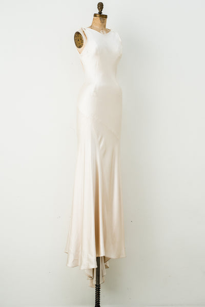 Silk 1930s-Inspired Charmeuse Bias Cut Gown - S/M