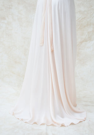 1930s Light Pink Low V Sheer Silk Gown - S