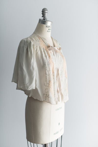 1930s Crepe Soft Powder Blue Jacket - S/M