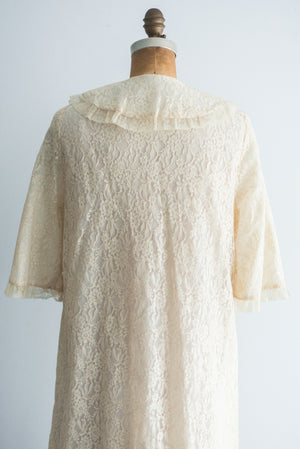 1960s Lace Night Gown Coat - M