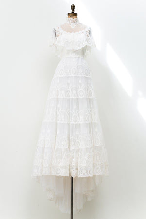 1970s Needle Lace Wedding Gown - S/M