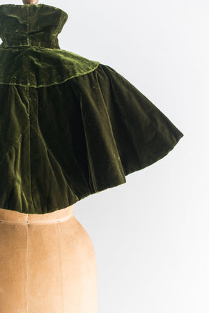 Antique Olive Green Velvet Capelet - One Size