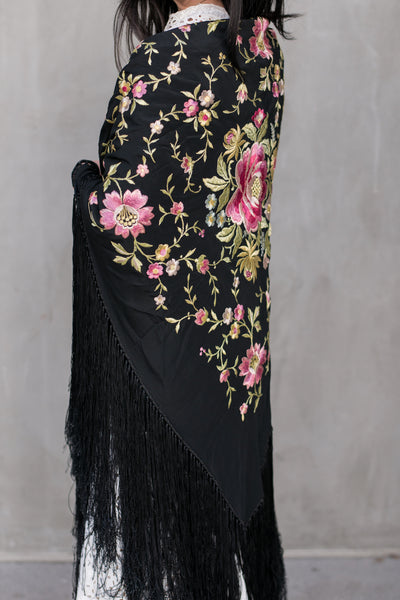 1920s Black Silk Embroidered Piano Shawl - One Size