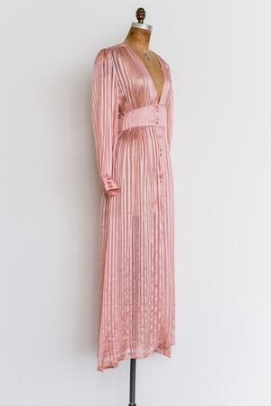 1980s Striped Silk Dressing Gown - S/M