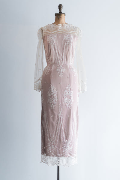 Vintage Embroidered Wiggle Gown - S
