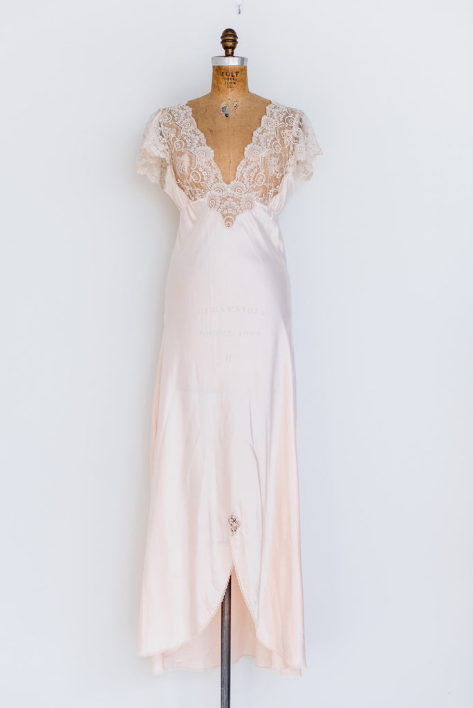 1950s Silk and Lace Dressing Gown/Slip Set - S/M ...