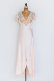 1950s Silk and Lace Dressing Gown/Slip Set - S/M