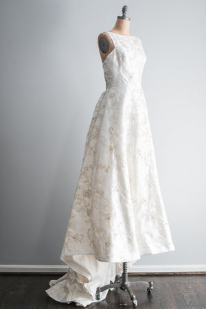 RESERVED Beaded Brocade Gown with Low Pleated Back - M