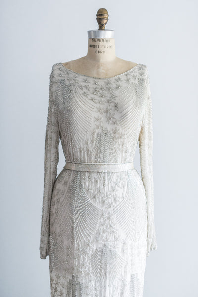 1980's Light Grey Silk Embellished Gown - M/L