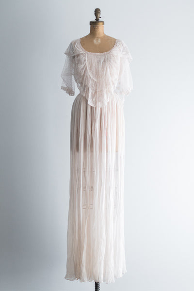 RENTAL Vintage Sheer Silk Gown - S
