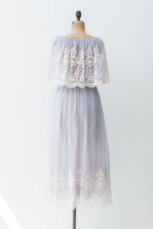 1970s Lavender Embroidered Dress - S/M