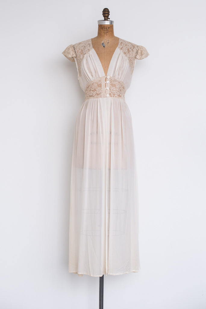 1940s Silk Chiffon and Lace Dressing Gown - S ...