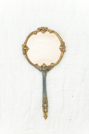 Antique Gold Hand Mirror
