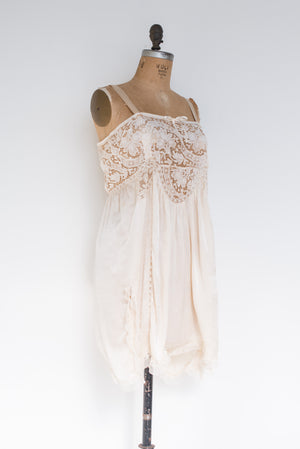 RARE 1920s Ivory and Brussells Lace Step-In - M/L