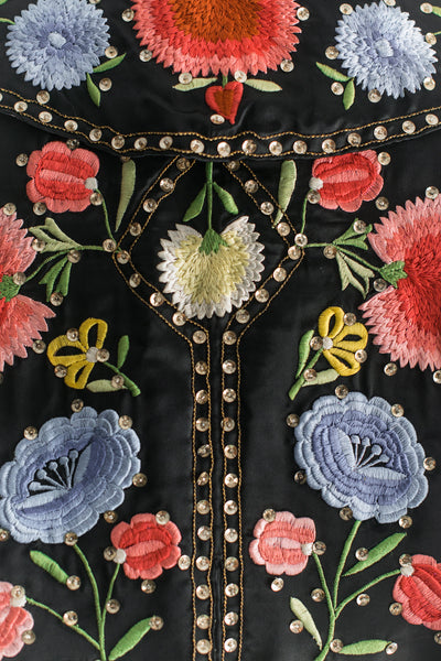 Antique Satin Embroidered Capelet - One Size