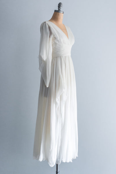 RESERVED 1960s Silk Grecian Pleated Dress - XS/S