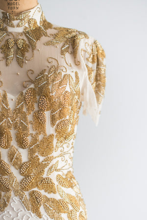 1980s Gold and Ivory Silk Beaded Dress - M/L