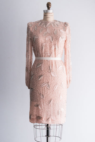 1960's Pink Chiffon Beaded Mod Dress - M