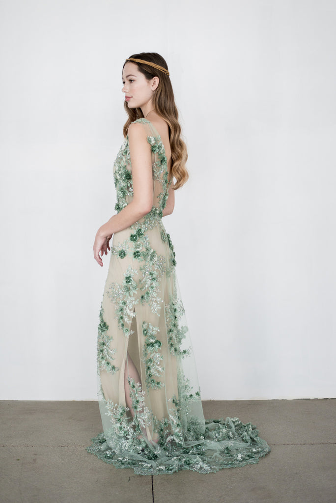 RENTAL GOSSAMER Green 3D Lace Gown - S | G O S S A M E R