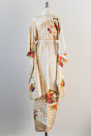 Vintage Silk Ivory Floral Embroidered Kimono - One Size