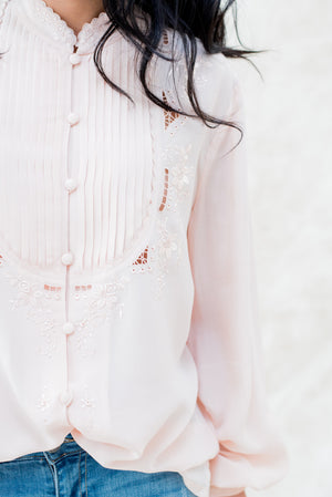 Vintage Silk Pleated Embroidered Shirt  - M
